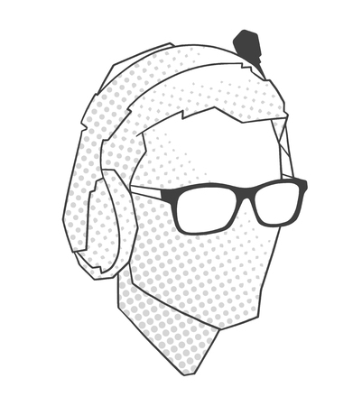 Stylized portrait of gamer in black and white