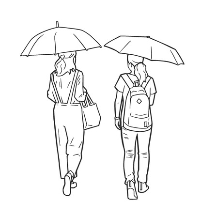 Isolated illustration of women walking in the rain holding umbrellas in black and white