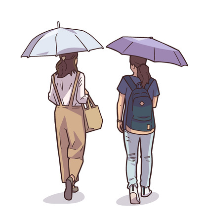 Isolated illustration of women walking in the rain holding umbrellas in color. Illustration