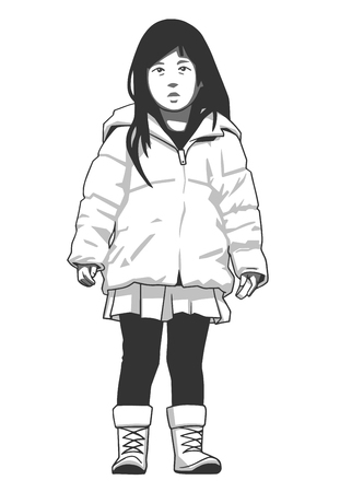 Isolated illustration of young girl wearing winter coat and boots in black and white. Illustration