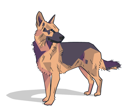 Isolated illustration of german friendly shepherd standing in color.