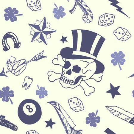 ビンテージの図に伝統的な入れ墨のデザイン パターン。