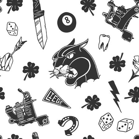 Traditionele tattoo ontwerpt patroon ontwerp illustratie.