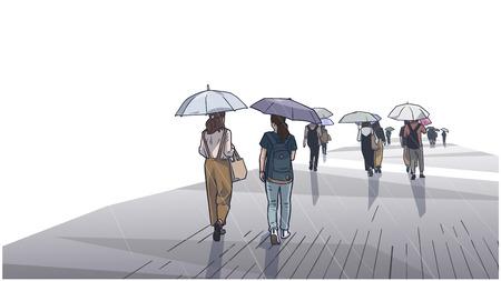 Illustration of people walking in the rain.