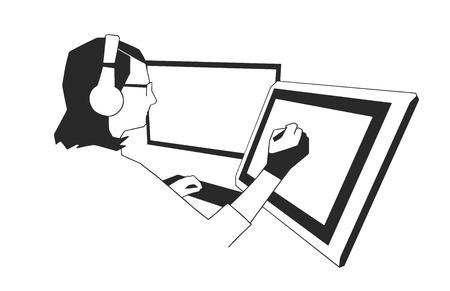 Illustration de la jeune femme designer travaillant sur tablette de dessin en noir et blanc.