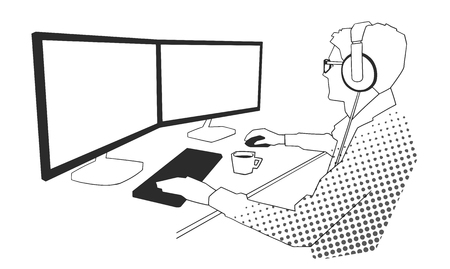 Illustration of young male office worker working on computer in black and white.
