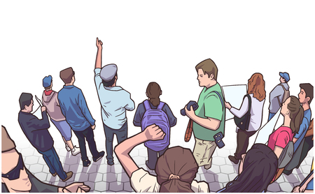 Illustration of group of demonstrators protesting.