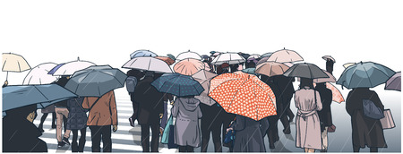 Illustration of crowded people crossing the street in the rain.