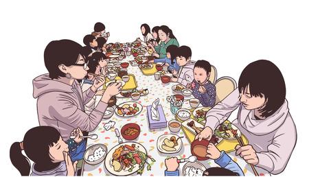 Illustratie van jonge moeders en kinderen die van een maaltijd genieten Vector Illustratie