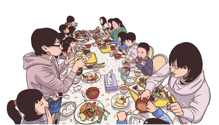 Illustration of young mothers and children enjoying a meal