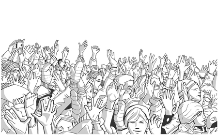 Illustration of people protesting in the cold with raised hands in grey scale