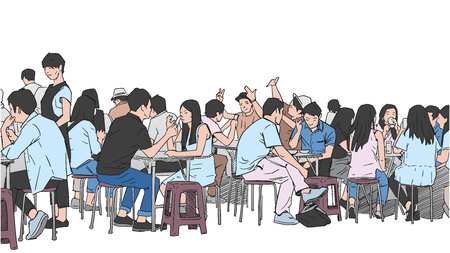 Illustration of people drinking and eating asian street food Ilustração