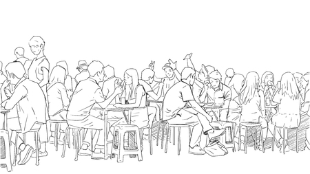 Illustration of people drinking and eating asian street food Çizim