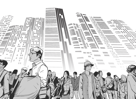 Illustration of urban crowd from low angle view with towers and high rises in background in black and white grey scale