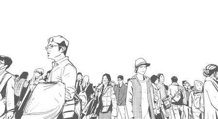Illustration of urban crowd from low angle view