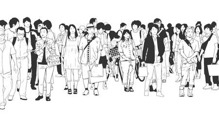 Illustration of city crowd with tourists, shoppers, workers and businessmen in black and white