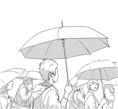 Illustration of crowd of people with rain coats and umbrellas
