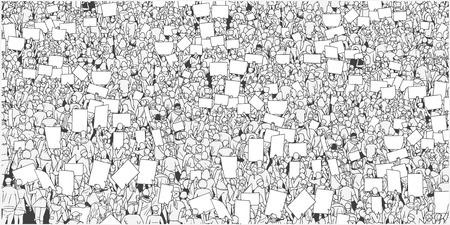 Illustration of large crowd protest with blank signs and banner in black and white