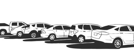 Illustration of parked cars in black and white Ilustração