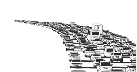 Illustration of rush hour traffic jam on freeway