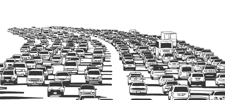 Illustration of rush hour traffic jam on freeway