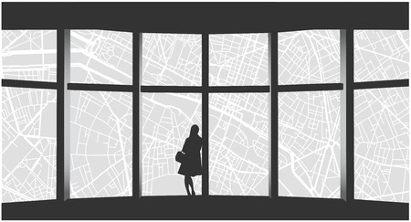 Stylized illustration of lonely woman looking at cityscape from highrise window