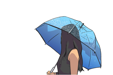 Isolated illustration of young woman holding umbrella and looking backwards in color Ilustração