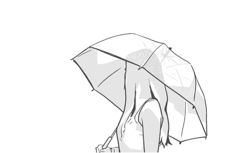 Isolated illustration of young woman holding umbrella and looking backwards in black and white Ilustração