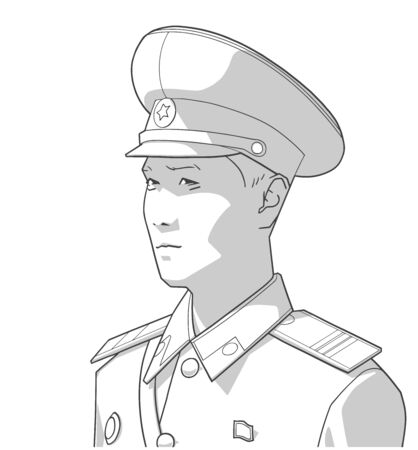 Isolated portrait of north korean soldier wearing uniform in black and white 向量圖像