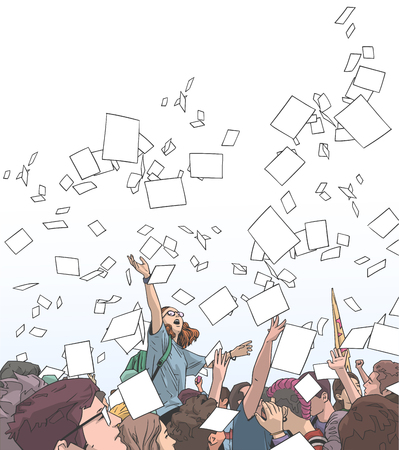 Illustration of students celebrating victory, graduation, freedom with sheets of paper thrown in the air Illustration