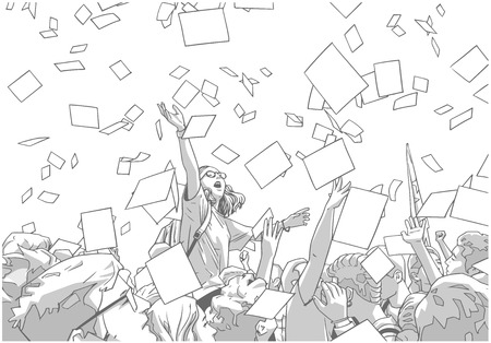 Illustration of students celebrating victory, graduation, freedom with sheets of paper thrown in the air  イラスト・ベクター素材