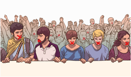 Illustration of group of students holding large banner with red tape on their mouth