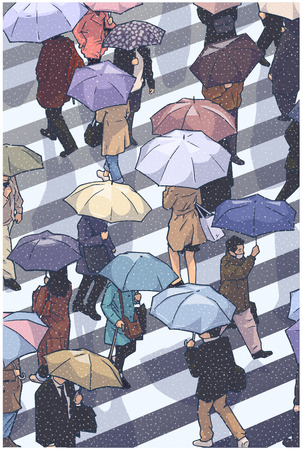 Illustration of city crowd in rainy weather crossing the street and holding umbrellas in color