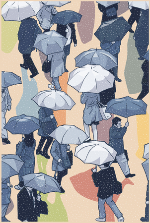 Illustration of city crowd in rainy weather crossing and holding umbrellas in color Ilustracja
