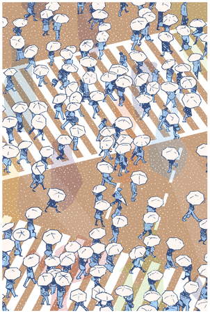 Illustration of busy street crossing from high angle view