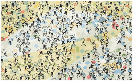 Illustration of large crowd of people walking with umbrellas Illustration