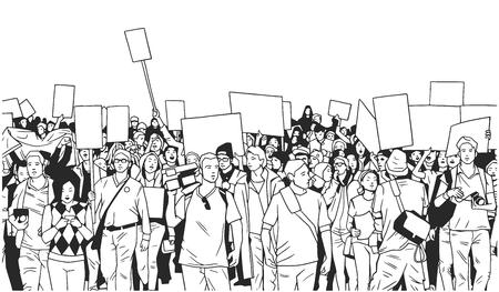 Illustration de grande foule de personnes montrant avec des signes vierges Banque d'images - 96526230