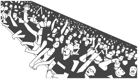 Stylized illustration of large crowd of people cheering at concert in perspective Иллюстрация