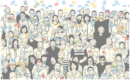 Gestileerde illustratie van grote groep mensen die en voor een foto glimlachen stellen Vector Illustratie