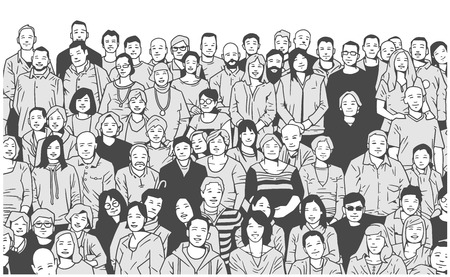 Stylized illustration of large group of people smiling and posing for a photograph