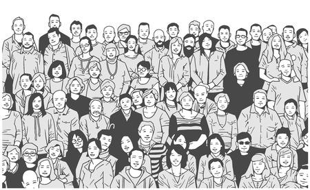 미소하고 사진을 위해 포즈를 취하는 사람들의 큰 그룹의 양식에 일치시키는 그림