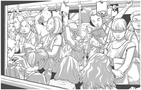 Illustration of crowded metro, subway cart in rush hour