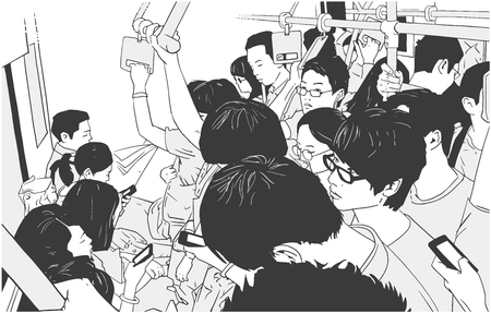 Illustration of crowded metro, subway cart in rush hour Imagens - 96526243