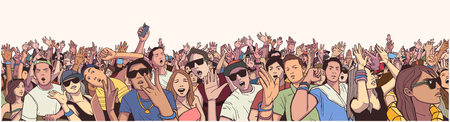 Stylized illustration festival crowd at live concert partying and having fun in panorama