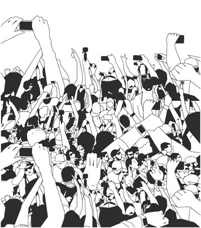 Background art of party people at concert in black and white Çizim