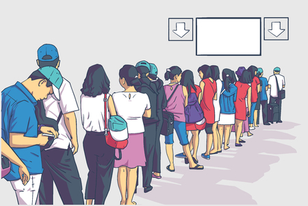 Illustration of crowd of people standing in line in perspective Иллюстрация