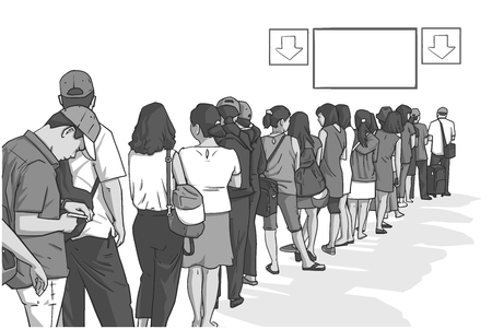 Illustration of crowd of people standing in line in perspective Stock Illustratie