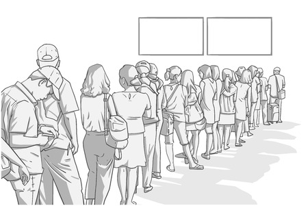 Illustration of crowd of people standing in line in perspective Illustration
