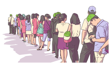 Illustration of crowd of people standing in line in perspective Çizim