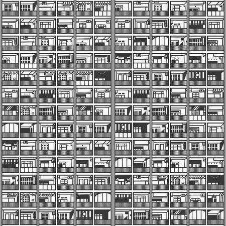 Seamless pattern of residential, commercial office building